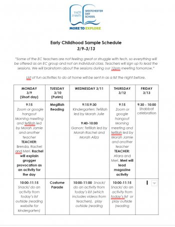 Westchester Day School Sample Schedule for Early Childhood